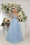 Дълга рокля с едно рамо - цветя