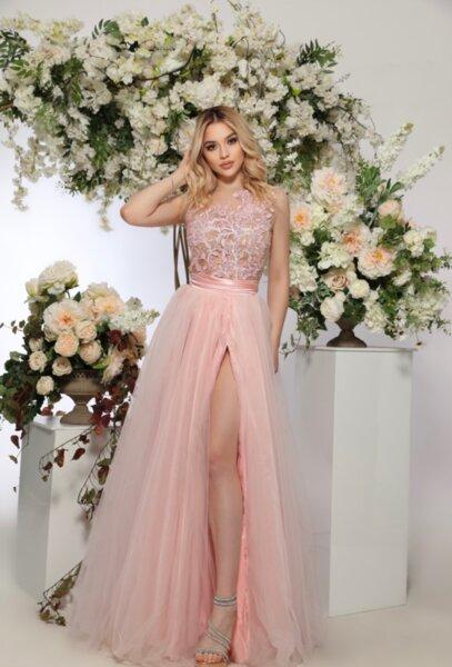 ЛИМИТИРАНА дълга рокля с едно рамо - корсет - цветя