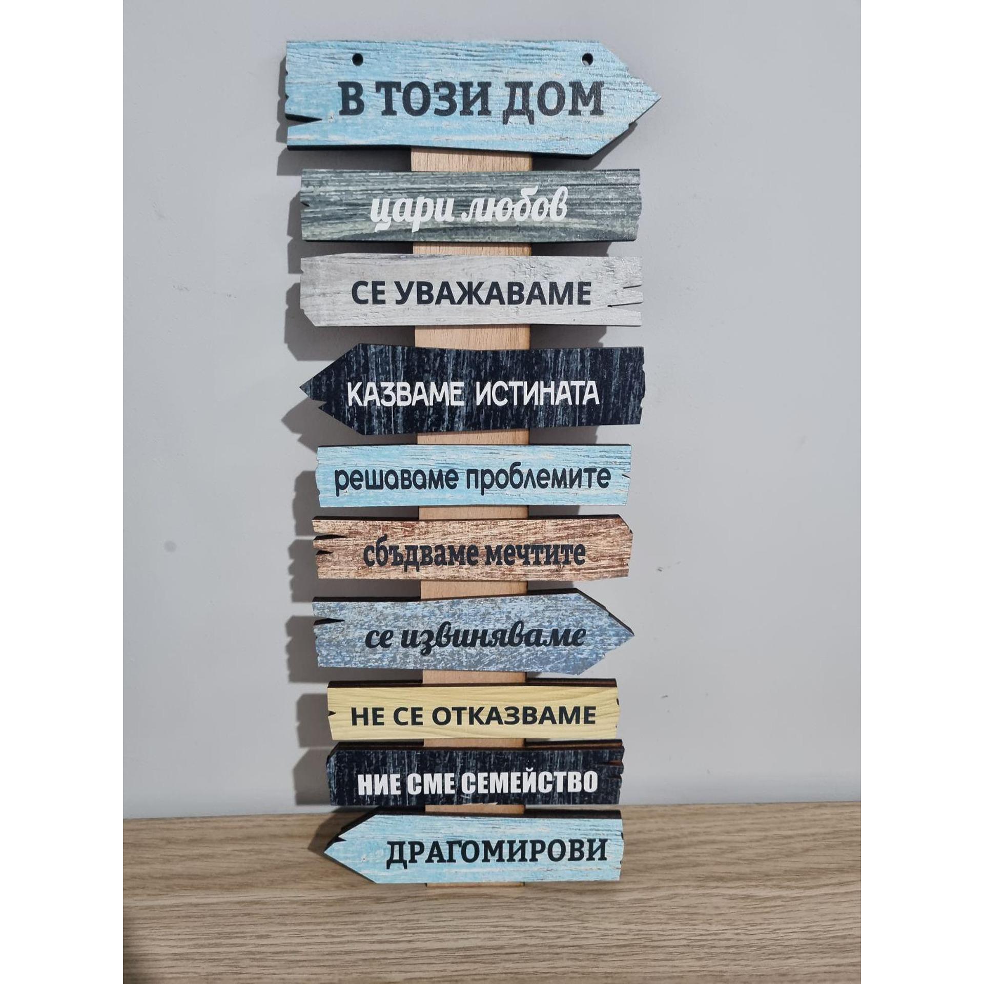 """Табелка със сменящ се надпис """"в този дом""""  & """"на коледа"""" и персонална фамилия"""