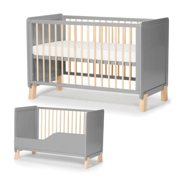 Дървено креватче KinderKraft NICO с матрак, Сиво