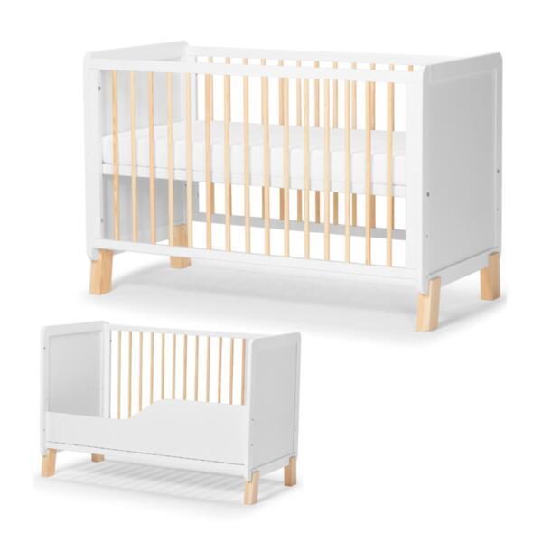 Дървено креватче KinderKraft NICO с матрак, Бяло