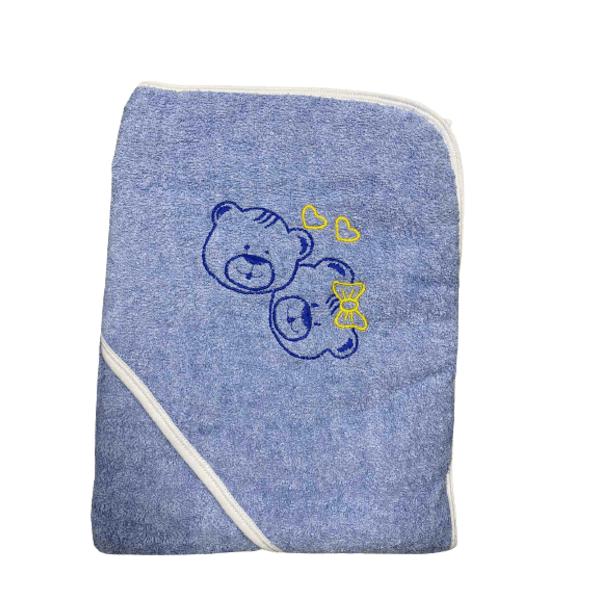 Бебешка хавлия с качулка синя