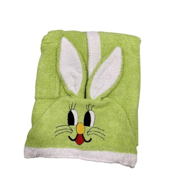 Бебешки халат с качулка зелен