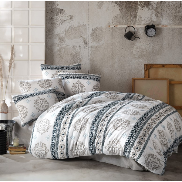 Двоен спален комплект с тънко одеяло тип пике Инфинити Гри