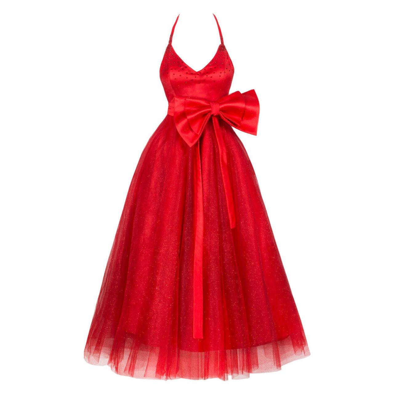 Огнено червена брокатена рокля