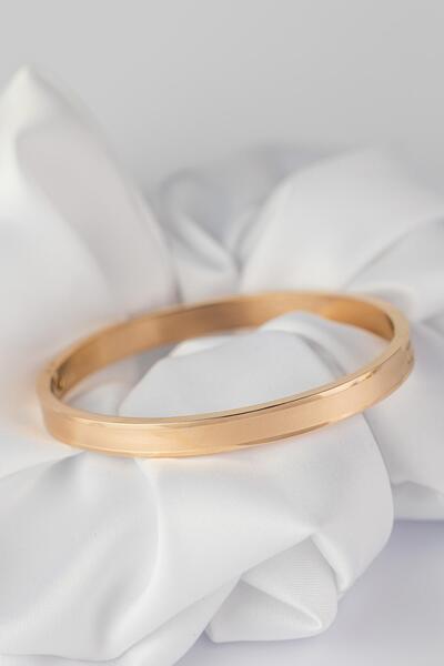 Овална гривна с двоен ефект в розово злато