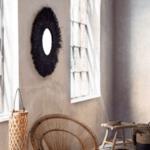 Огледало с бамбукова рамка I черен цвят
