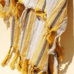 Ленена плажна кърпа / оранжева