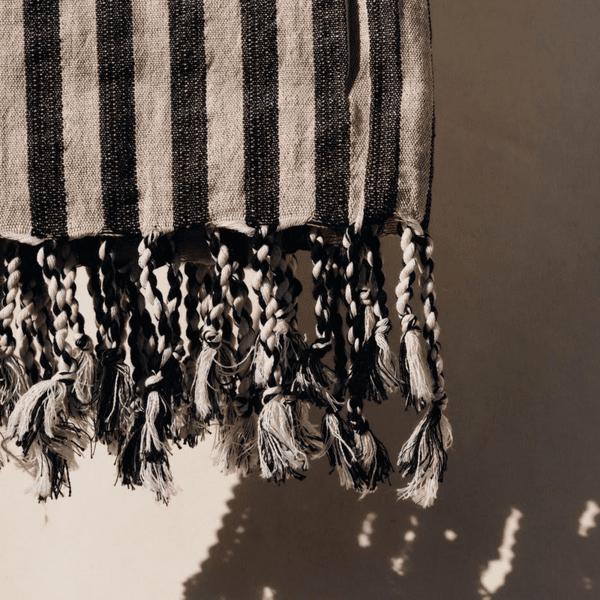 Ленена плажна кърпа / черно рае