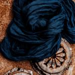 Ленен шал LS / тъмно син