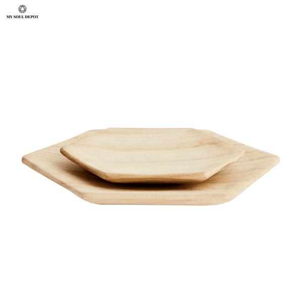 Шестоъгълни дървени съдове - комплект 2бр.