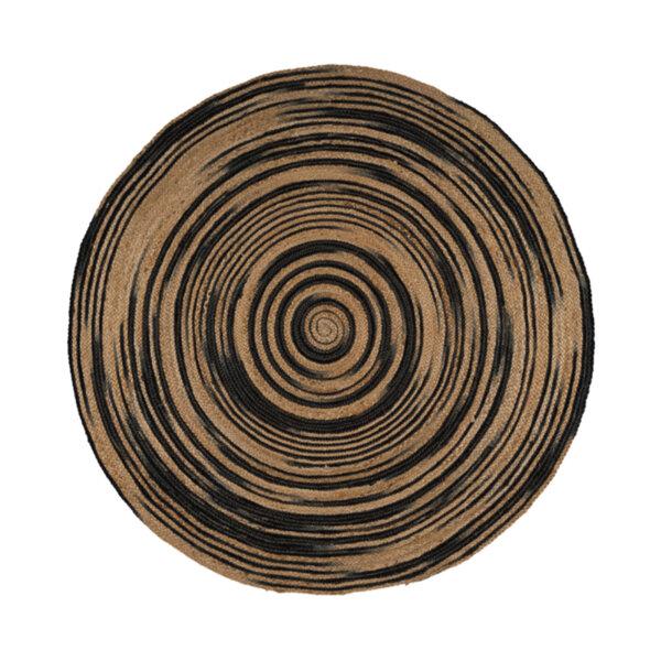 Кръгъл килим от юта в черно рае