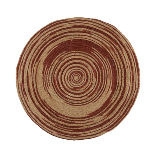 Кръгъл килим от юта в рае теракота