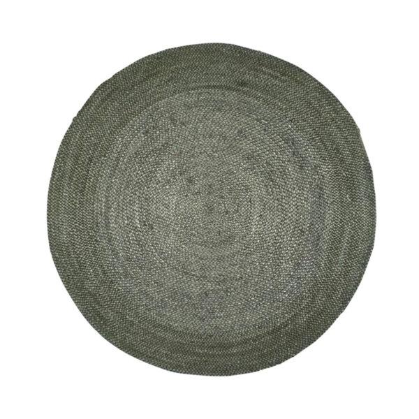 Кръгъл килим от юта в тъмнозелено ø150