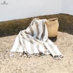 Ленена плажна кърпа / цвят кайсия