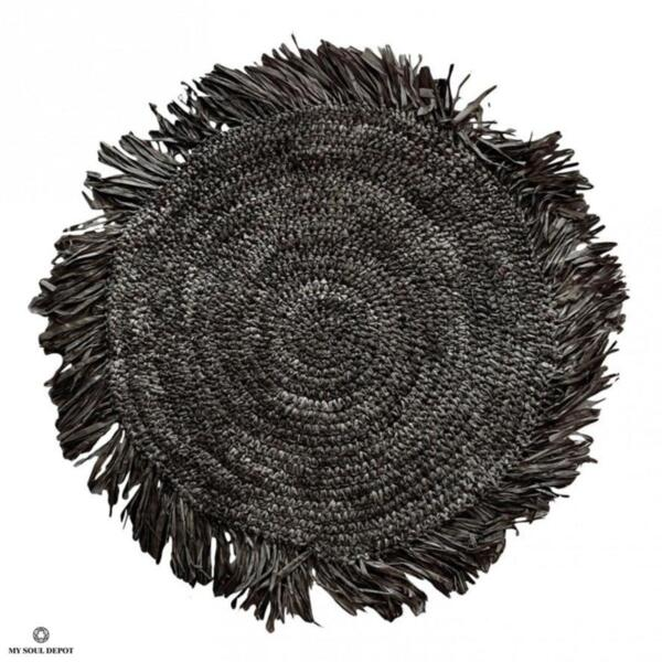 Кръгла подложка за хранене с ресни - черен цвят