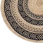 Кръгъл килим от юта с черен принт