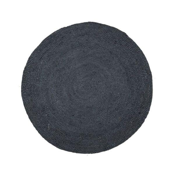 Кръгъл килим от юта в черно