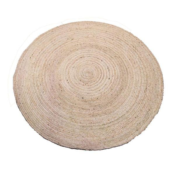 Кръгъл килим от юта в светлокремав цвят
