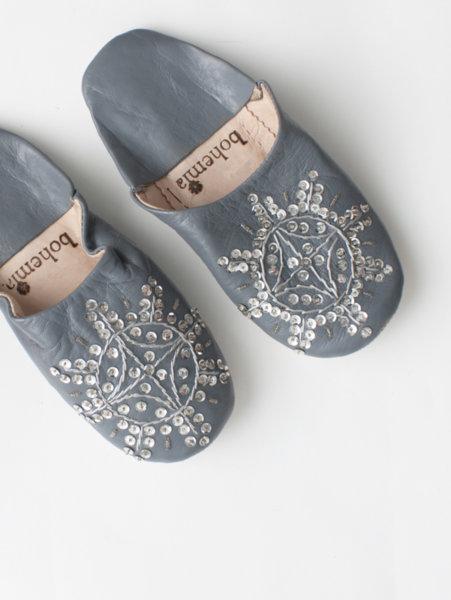 Марокански чехли Babouche с пайети в тъмносив цвят