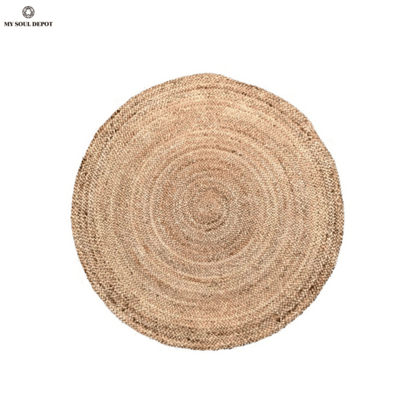 Кръгъл килим от юта в естествен цвят ø120