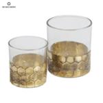 Стъклен свещник със златист метален кант - комплект
