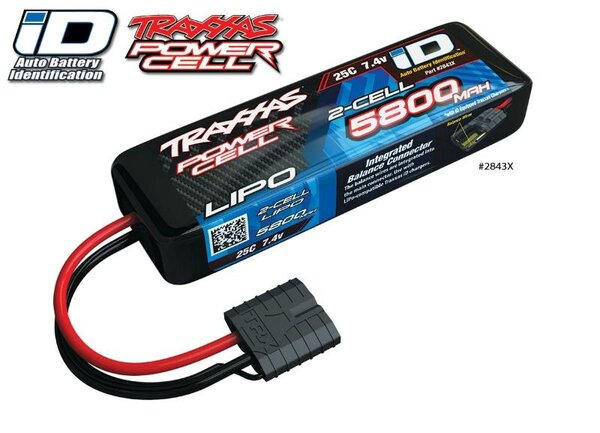 Power Cell LiPo 5800mAh 7.4V 2S 25C , all models ID, TRX2843X