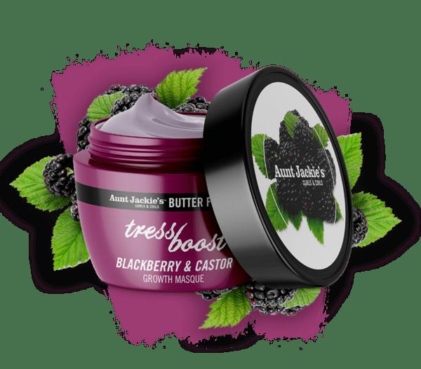 Маска за растеж на косата с къпина и рицин Aunt Jackie's Tress Boost Blackberry & Castor Hair Growth Masque, 227 гр