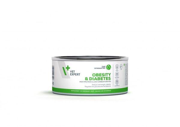 Vet Expert 4T Obesity and Diabetes - Пълноценна диетична храна за кастрирани котки,която редуцира наднорменото тегло  консерва(100гр).
