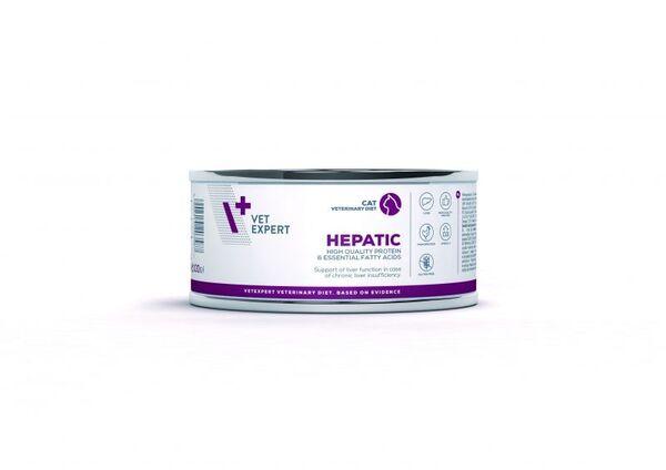 Vet Expert 4T Hepatic cat - Пълноценна диетична храна за възрастни котки предназначена да поддържа чернодробната функция в случай на хронична недостатъчност консерва(100гр).