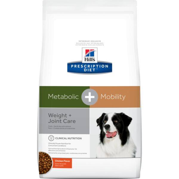 Hill's Prescription Diet Metabolic+Mobility – комбинирана диета за наднормено тегло и ставни проблеми при кучета (12 кг / 4кг)