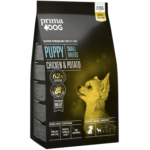 PrimaDog PUPPY SMALL BREEDS CHICKEN & POTATO - Пълноценна храна за малки кучета с пилешко и картофи / 1-10 кг. /, до 12 месеца - 2 кг.