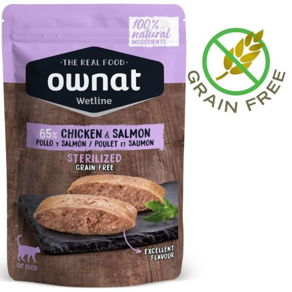 100% Натурална храна за котки OWNAT WETLINE STERILIZED Chicken & Salmon БЕЗ ЗЪРНО, пауч за кастрирани котки с 50% прясно пилешко месо, 15% сьомга - 85 грама