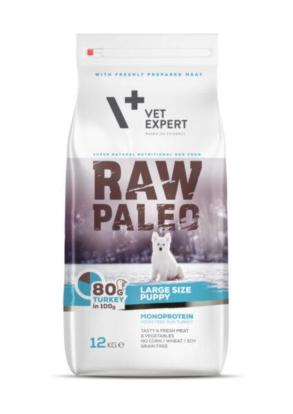 RAW PALEO PUPPY large - Висококачествена суха храна за големи породи кучета (до 1,5 г.) с 80% пуешко месо 12 кг