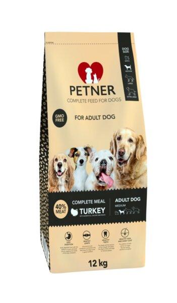 Petner Adult Medium Turkey - пълноценна храна за кучета от средни породи и възраст над 12 месеца (12 кг), с пуешко