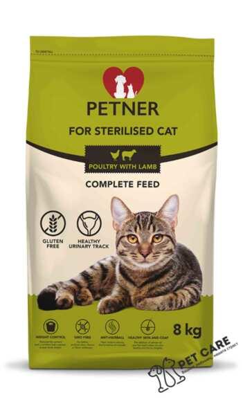 Petner Sterilised Cat Chicken With Lamb - пълноценна храна за кастрирани котки (8 кг)