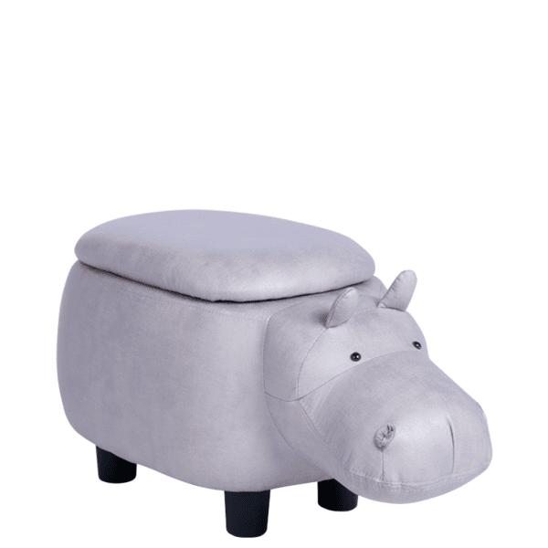 Детска табуретка с ракла - сив хипопотам