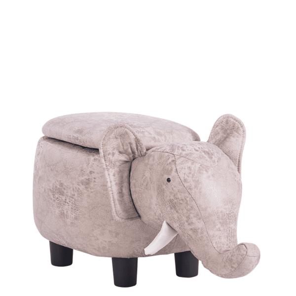 Детска табуретка с ракла - сив слон
