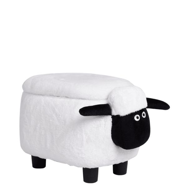 Детска табуретка с ракла - бяла овца