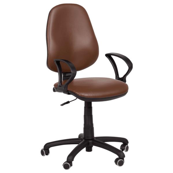 Офис стол Polo (с подлакътници)  - тъмно кафяв