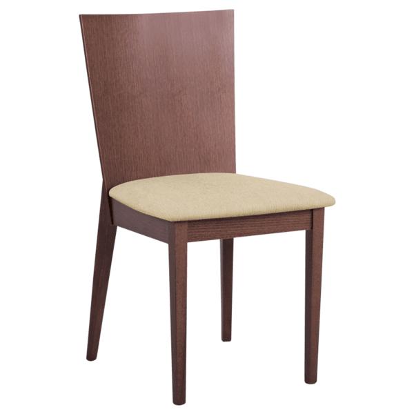 Трапезен стол DARIO - орех MB / бежов крем