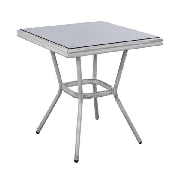 Бяла алуминиева маса Bamboo със стъкло