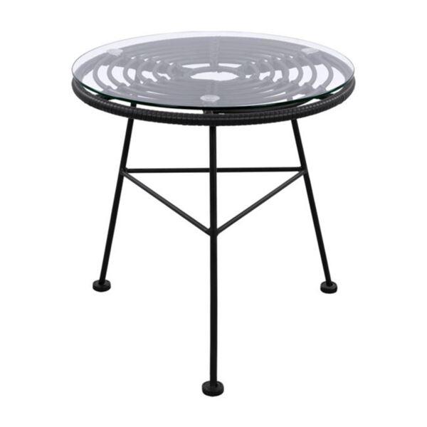 Метална маса Allegra с ракита в черен цвят и стъкло