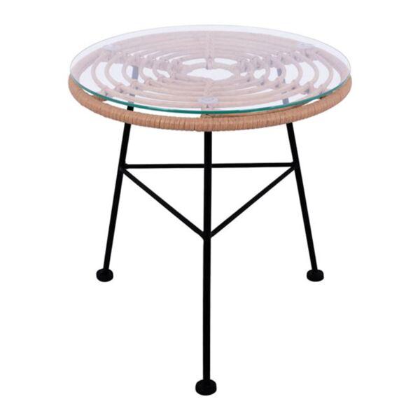 Метална маса Allegra с ракита в бежов цвят и стъкло