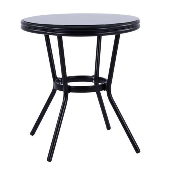 Черна алуминиева маса Bamboo със стъкло