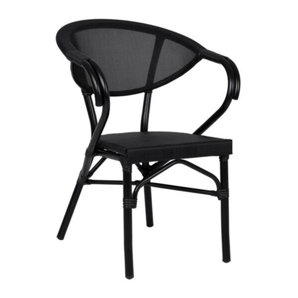 Черно алуминиево кресло Bamboo с текстил