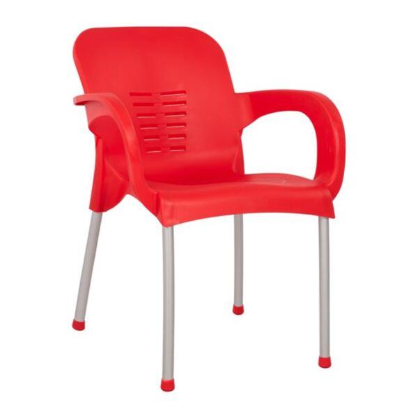 Полипропиленово Кресло в червен цвят с алуминиев крак