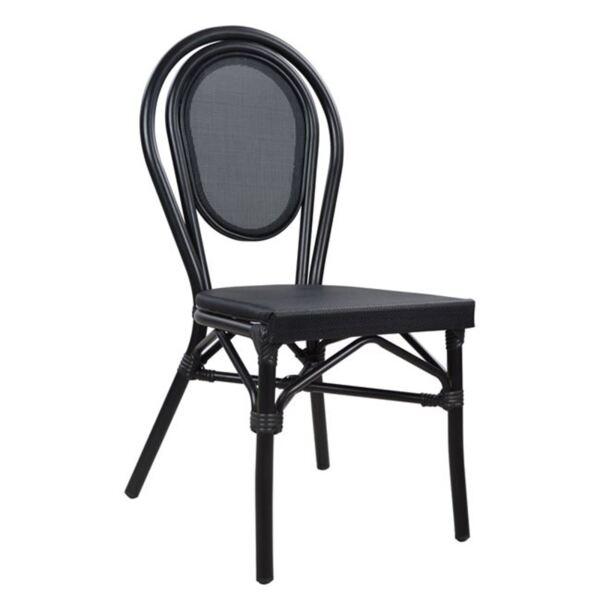 Черен алуминиев стол Bamboo с текстил
