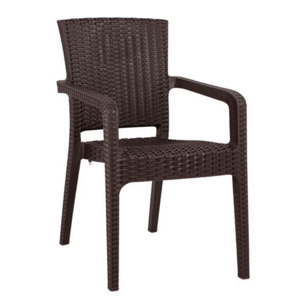 Кресло от полипропилен в кафяв цвят