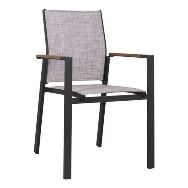 Алуминиево кресло Милър Черно със сив текстил Полиууд